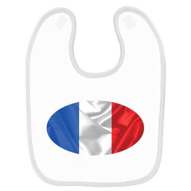 f9d6ae4eefae Mygoodprice - Bavoir bébé imprimé France drapeau ovale Blanc - pas ...