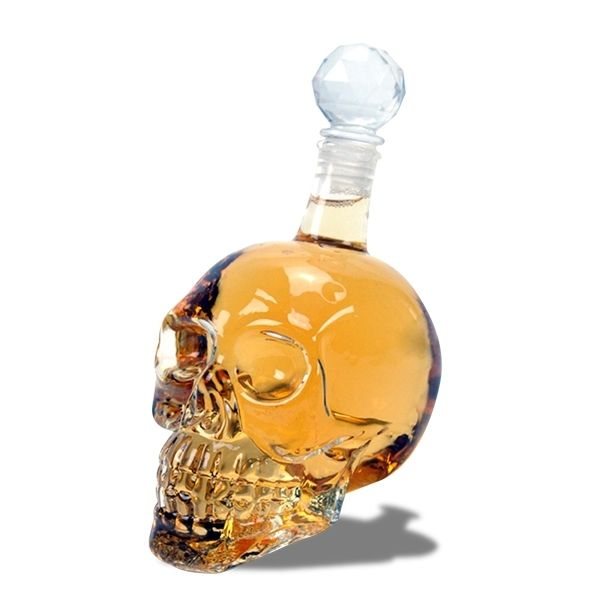 Totalcadeau Bouteille Crystal whisky en tête de mort 500ml conservation alcool