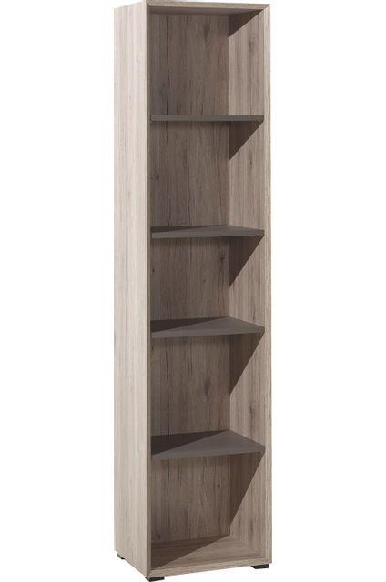 Comforium Bibliothèque design colonne 45 cm avec 5 compartiments coloris chêne marron