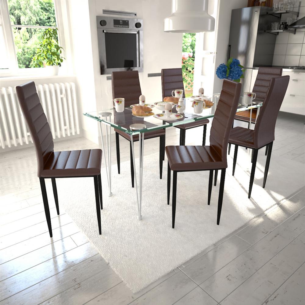 Vidaxl Lot de 6 chaises marron aux lignes fines avec une table en verre