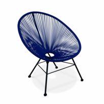 ALICE'S GARDEN - Fauteuil design Oeuf - Acapulco Bleu roi - Fauteuil design cordage PVC