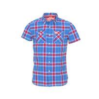 Superdry - Chemise manches courtes Slimline Washbasket à carreaux bleus et rouges