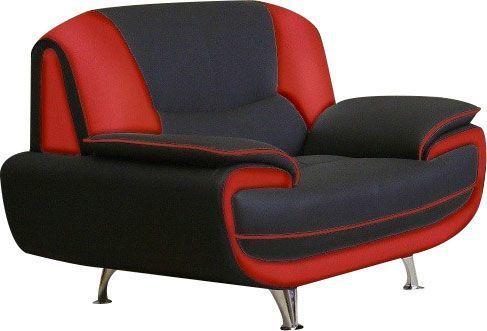 comforium fauteuil 1 place design en simili cuir coloris noir et rouge nino pas cher achat. Black Bedroom Furniture Sets. Home Design Ideas