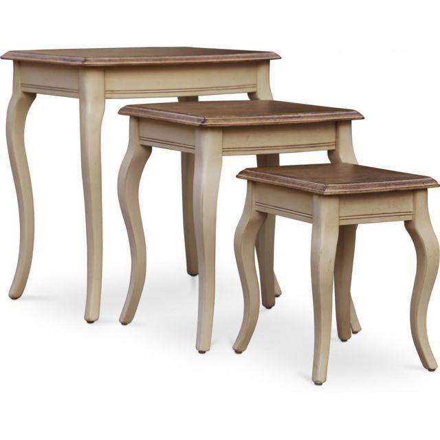 Privatefloor Ensemble de 3 tables rustique bois cire
