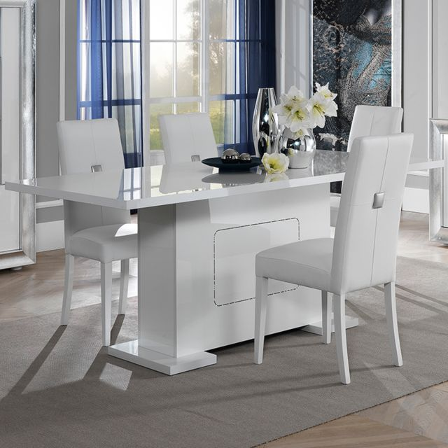 Nouvomeuble Table 160 cm blanche laqué design Nevahe