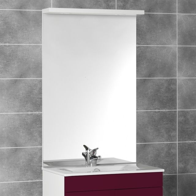 Miroir avec bandeau spots halogènes MIRCOLINE - 80 cm