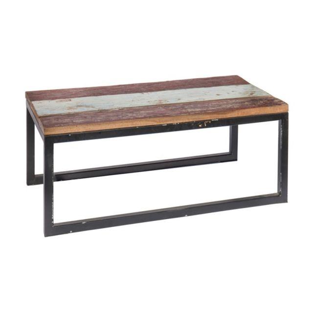 Ma maison mes tendances table de salon de jardin rectangulaire 90cm en teck et fer ciudad l - Couleur salon de jardin en fer ...