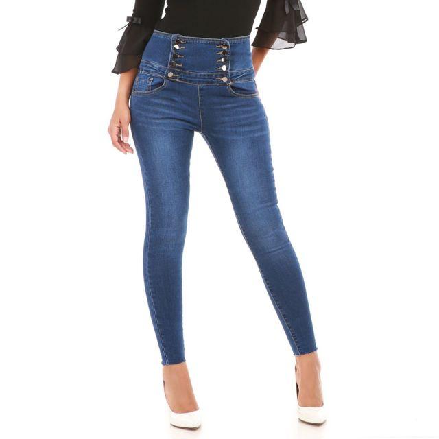 Jeans style taille pas haute officier cher Lamodeuse bleu Achat ZPqndxZg
