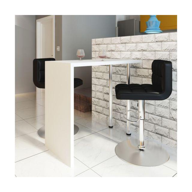 rocambolesk superbe table blanche verniss e table de bar 2 pieds neuf pas cher achat vente. Black Bedroom Furniture Sets. Home Design Ideas