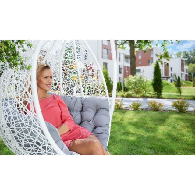 House and Garden - Balancelle Suspendu Cocoon Luxe Blanc Gris - pas ...