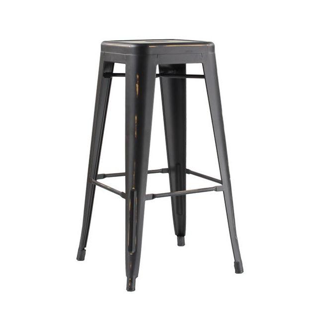 Moloo - Lot de 2 tabourets de bar 4 pieds Industriel métal finition noir vieilli Iron-small - 66cm
