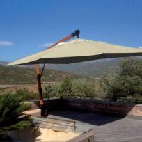 Abritez-vous Chez Nous - Parasol en bois diam. 3m Deco D Ailleurs Ecru