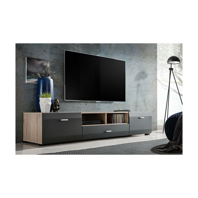 Justyou Mosel Meuble Tv Chene San Remo Anthracite Pas