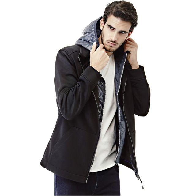 21165745c41 Guess - Blouson 2en1 M73l35 - Jeans Noir - XXL - pas cher Achat   Vente  Doudoune homme - RueDuCommerce
