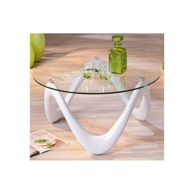 Inside 75 Table basse design Valentine en verre et piétement laque blanche