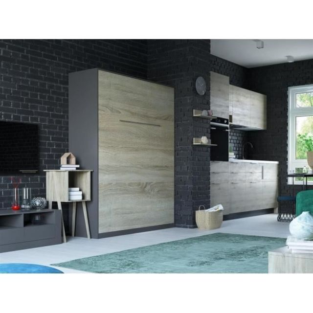 Lit Escamotable 160x200 Vertical Anthracite Chêne Sonoma