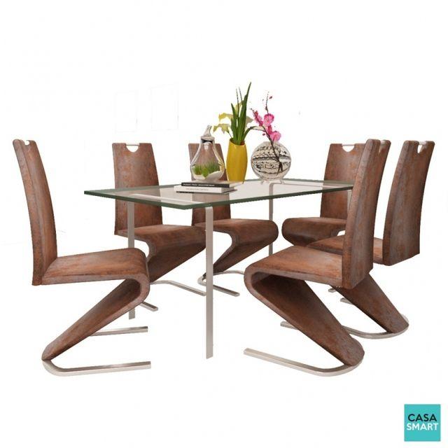Casasmart Lot de 6 chaises modernes Ash en simili cuir marron