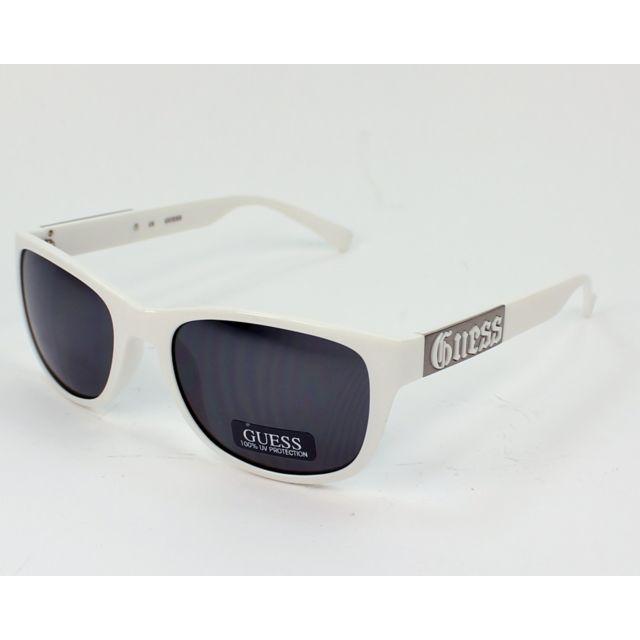 fdc29e59fab0be Guess - Gu-6673 Wht3F Blanc - Lunettes de soleil - pas cher Achat   Vente  Lunettes Sport - RueDuCommerce