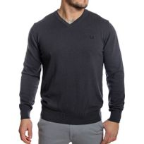Fred Perry - Pull homme col V anthracite en coton fin