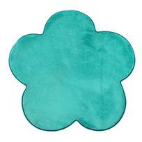 Mon Beau Tapis - Tapis forme fleur turquoise extra doux 90x90cm Flanelle Flower