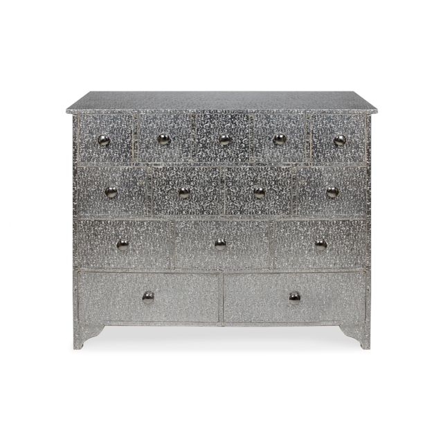 MENZZO Commode 14 Tiroirs Reverie Argent