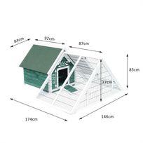 HOMCOM - Poulailler clapier modèle maison contemporaine multi-équipée : rampe, nichoir, perchoir, portes bois massif vert et blanc neuf 51