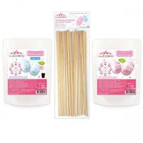 Scrapcooking - 2 sachets de préparation pour barbe à papa rose & bleu + 25 bâtonnets