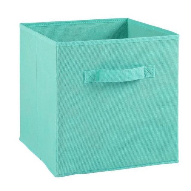 Boite De Rangement Bac De Rangement Compo Tiroir De Rangement Tissu 27 X 27 X 28 Cm Bleu Turquoise Pas Cher Achat Vente Boite De Rangement Rueducommerce