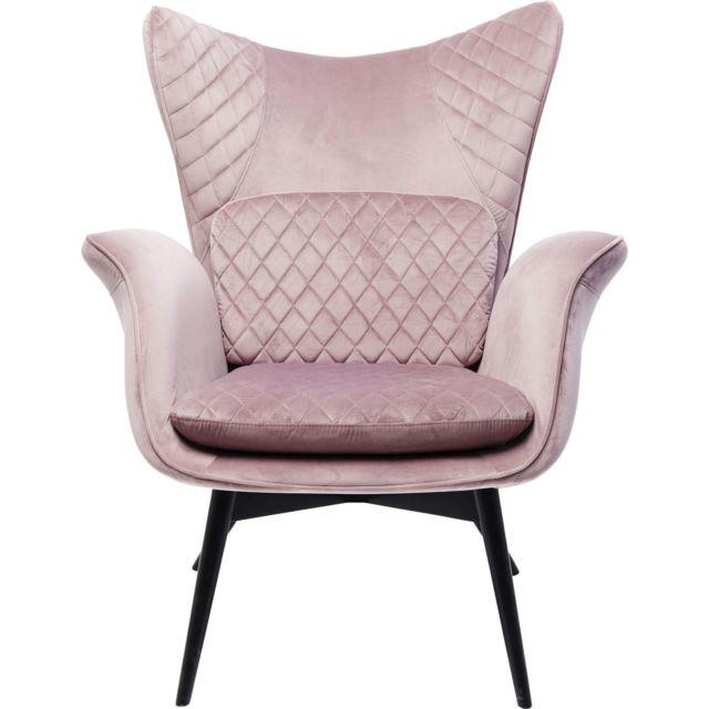 Karedesign Fauteuil Tudor velours rose Kare Design