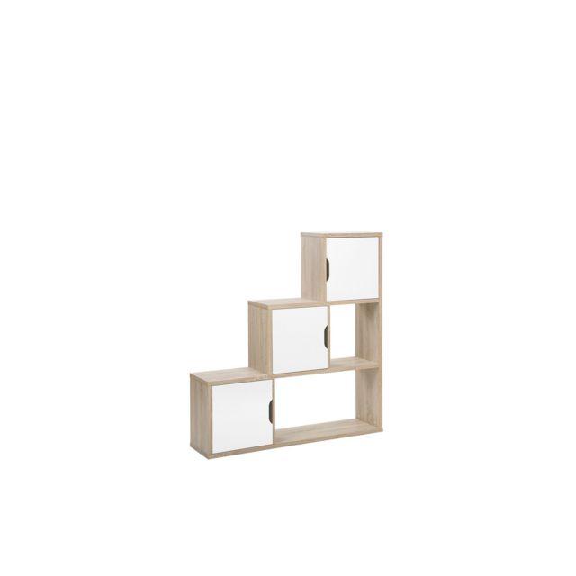 BELIANI Étagère bois clair et blanche SALTA - blanc