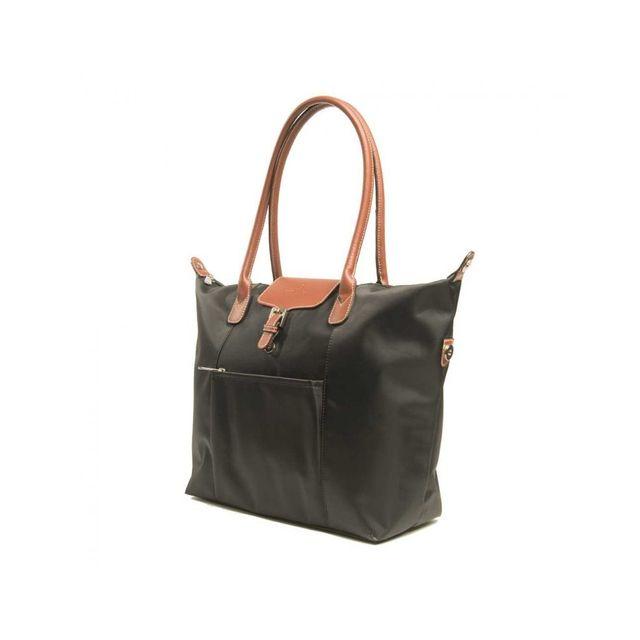 b273d12458 Hexagona - Sac cabas nylon porté épaule Noir - pas cher Achat / Vente  Besaces et bandoulières - RueDuCommerce