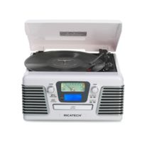 RICATECH - RMC100 - Chaine Hifi 5 en 1 - Lecteur CD - Platine vinyle - Radio AM/FM - AUX - USB - Lecteur de carte SD - Télécommande - Blanc