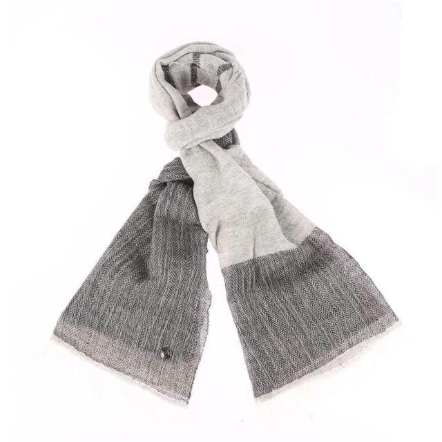 d2fba2c8d51 Pierre cardin - Chèche en laine et coton mélangé gris chiné et gris  anthracite