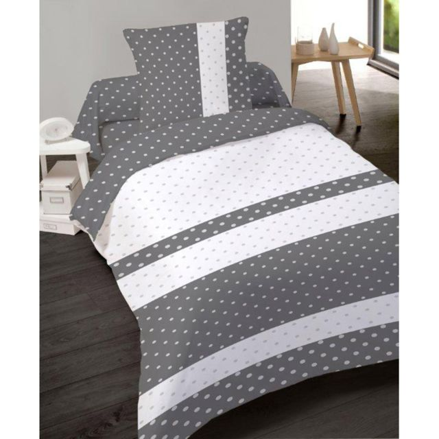 dourev housse de couette candy dots 140x200 cm 100 coton avec taie blanc gris 140cm x. Black Bedroom Furniture Sets. Home Design Ideas