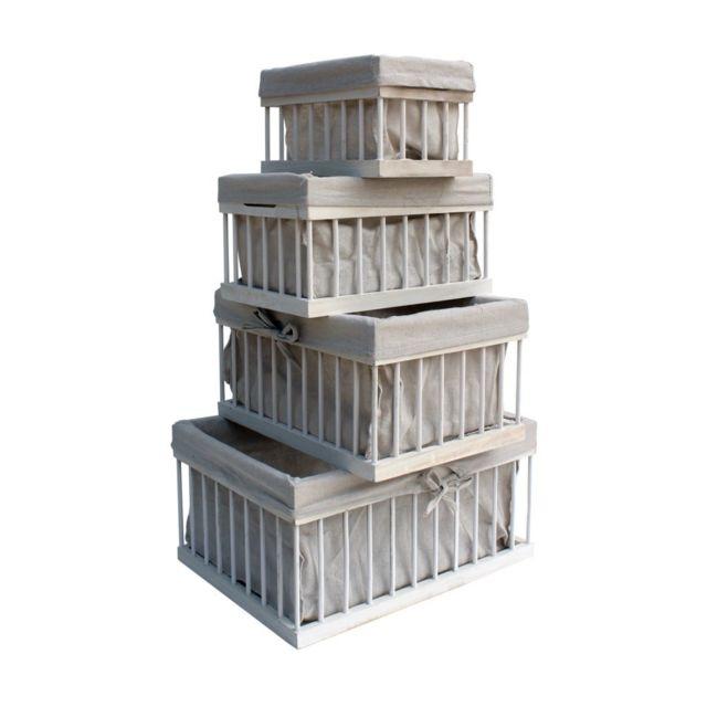 Mobili Rebecca Set de 4 Boîte de rangement Blanc Beige Bois Shabby 20x40x30