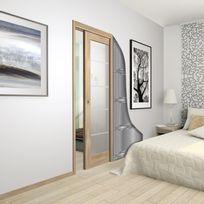 Wimove - Châssis pour porte simple coulissante en bois 830 x 2040 - 80 kg