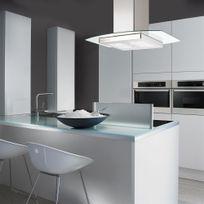 Silverline - Hotte cuisine en îlot Kili inox et verre 90 cm