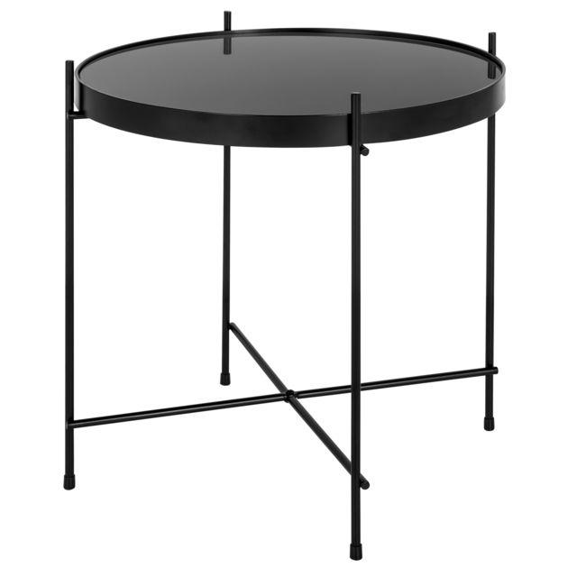 rendez vous deco table basse ronde valdo noire s x x 43cm pas cher achat. Black Bedroom Furniture Sets. Home Design Ideas