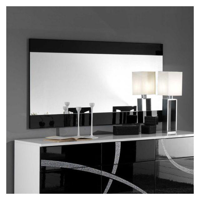 Dansmamaison Miroir rectangulaire Noir laqué - Cross - L 150 x l 2 x H 81 cm