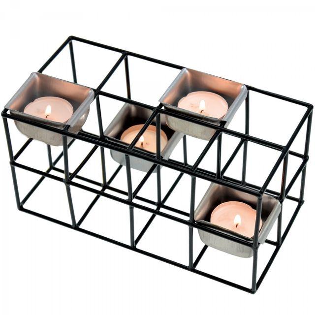Incidence - Photophore Cage Rectangulaire - 4 bougies - Black line Noir - 10,3