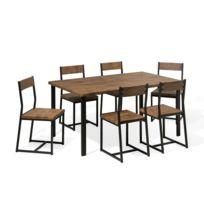 beliani ensemble table de salle manger et 6 chaises laredo