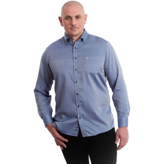 &TRADITION Chemise bleu marine et rayures oblique blanc
