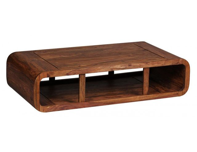 Comforium Table basse rectangulaire 120 cm en bois massif coloris sheesham