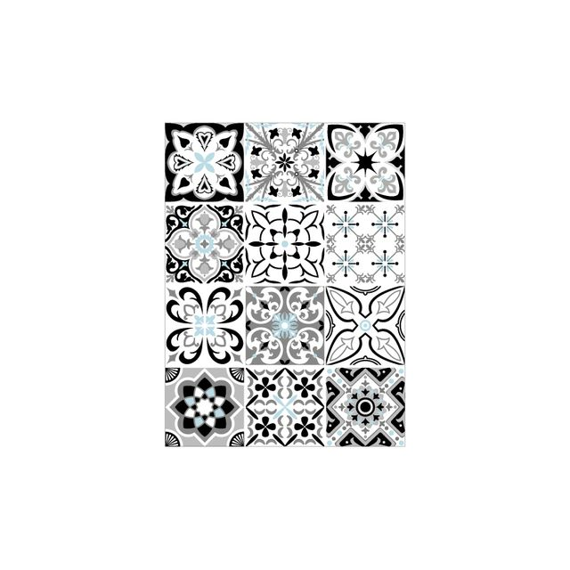 Adhesif Carrelage Sticker Carreaux De Ciment Greyblue 12 Pieces 15 X 15 Cm