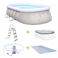 Kit piscine géante complet - Onyx grise - autoportante ovale 5,4x3m avec pompe de filtration, bâche de protection, tapis de sol et échelle, piscine hors sol autostable