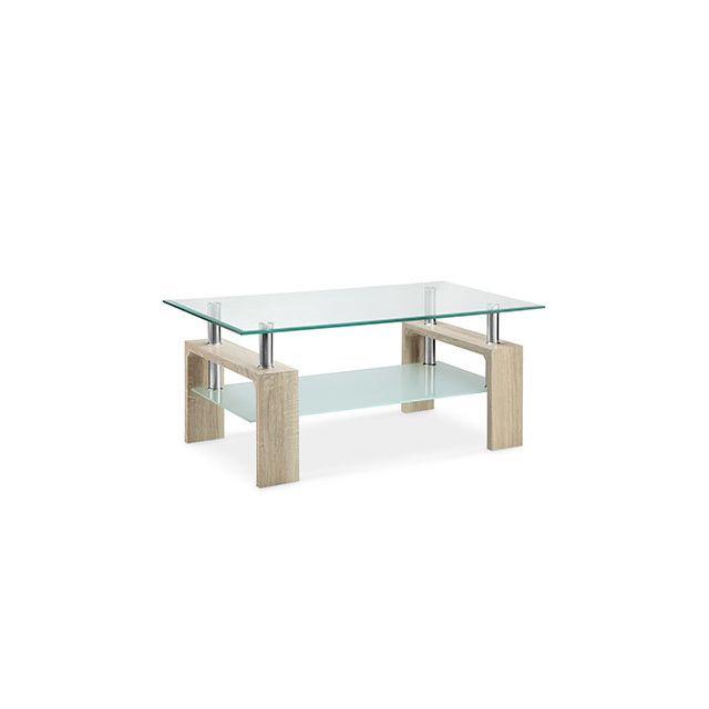 Table basse double plateau verre décor chêne naturel - Kimmy