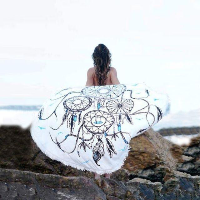 wewoo serviette de plage de bain ronde en microfibre d 39 t de en sable ch le taille 150 x. Black Bedroom Furniture Sets. Home Design Ideas
