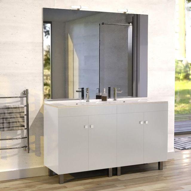 CREAZUR Meuble salle de bain ECOLINE 140 double vasque résine - Blanc brillant