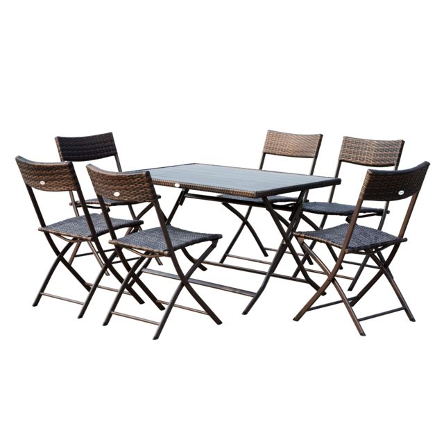 OUTSUNNY - Ensemble salon de jardin 6 personnes grande table ...