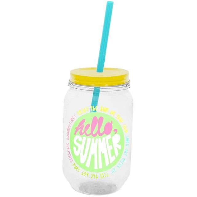 Promobo Gobelet Smoothie Gourde A Cocktail Aspect Bocal Bouteille Avec Paille Hello Summer Jaune